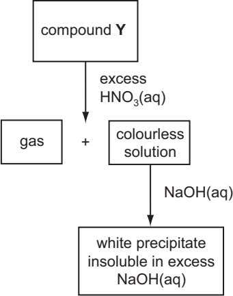 compound Y excess HNO 3 (aq) colourless gas + solution NaOH(aq) white precipitate insoluble in