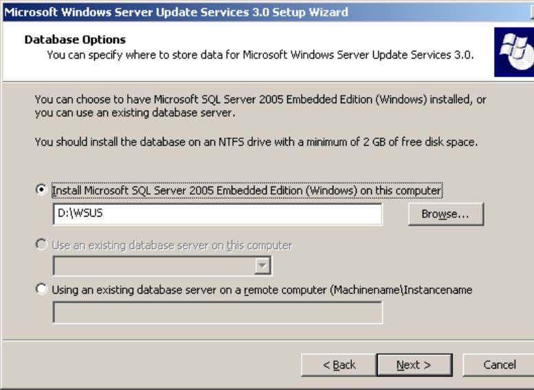 Where to Store WSUS Updates earlier in this guide. 6. On the Database Options page, you