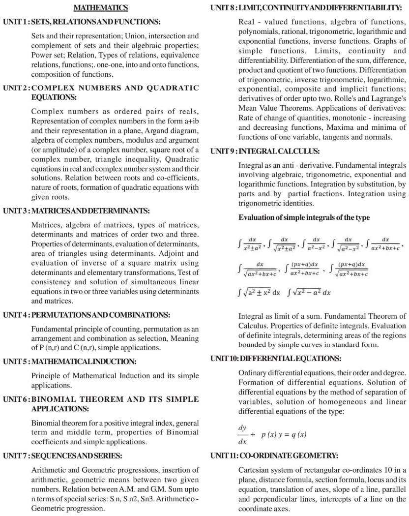 Appendix 1 SYLLABUS FOR JEE (Main) - 2013 Page 25 of 64
