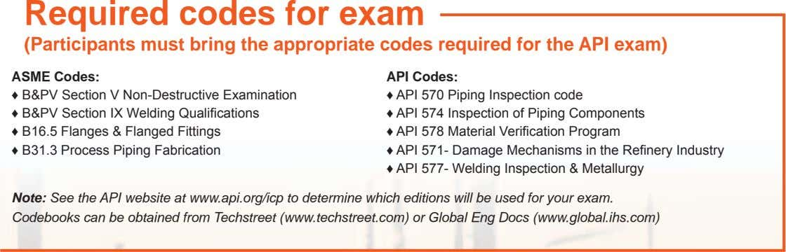 Required codes for exam (Participants must bring the appropriate codes required for the API exam)