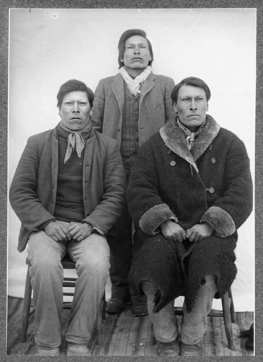 Figure 4.2 From left, Brothers Dewey Beard, Joseph Horn Cloud, and Daniel White Lance, 1907,