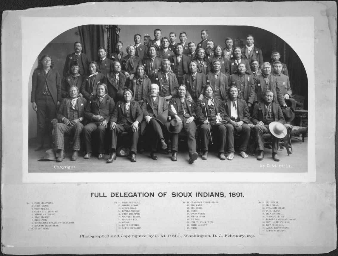 Figure 4.1 Full Delegation of Sioux Indians, including American Horse (front row, fifth from left),