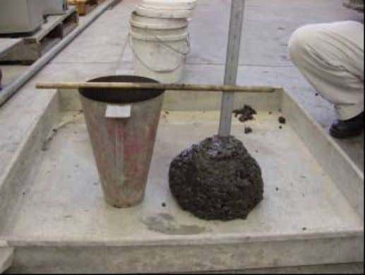 Figure 3.6 Measurement of Slump 3.4.3. Manufacture of Fresh Mortar and Casting The fly ash