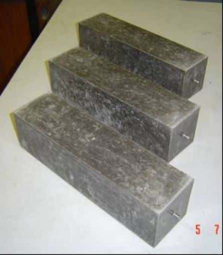 cylindrical specimens were also prepared for compressive strength test. Figure 3.15 Specimens for Drying Shrinkage Test