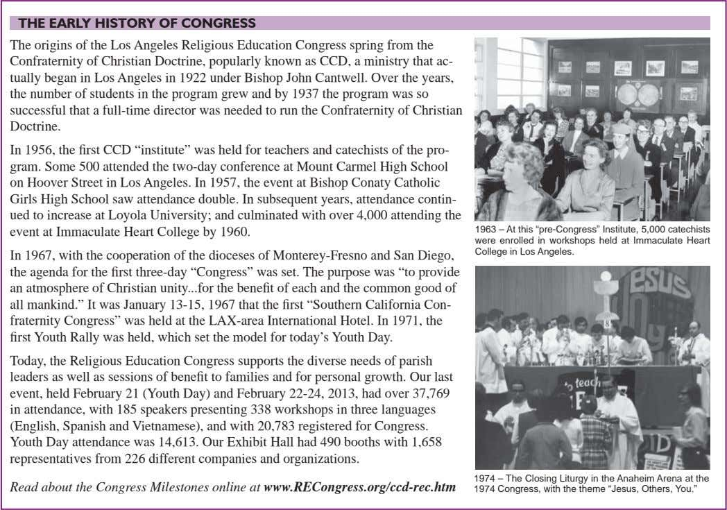 THE EARLY HISTORY OF CONGRESS The origins of the Los Angeles Religious Education Congress spring