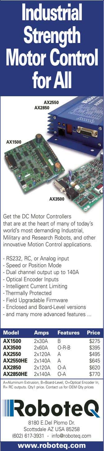 Industrial Strength MotorControl forAll AX2550 AX2850 AX1500 AX3500 Get the DC Motor Controllers that are