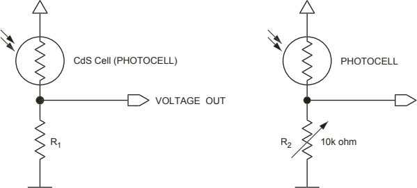 CdS Cell (PHOTOCELL) VOLTAGE OUT R 1