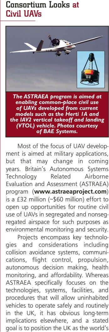 Consortium Looks at Civil UAVs The ASTRAEA program is aimed at enabling common-place civil use