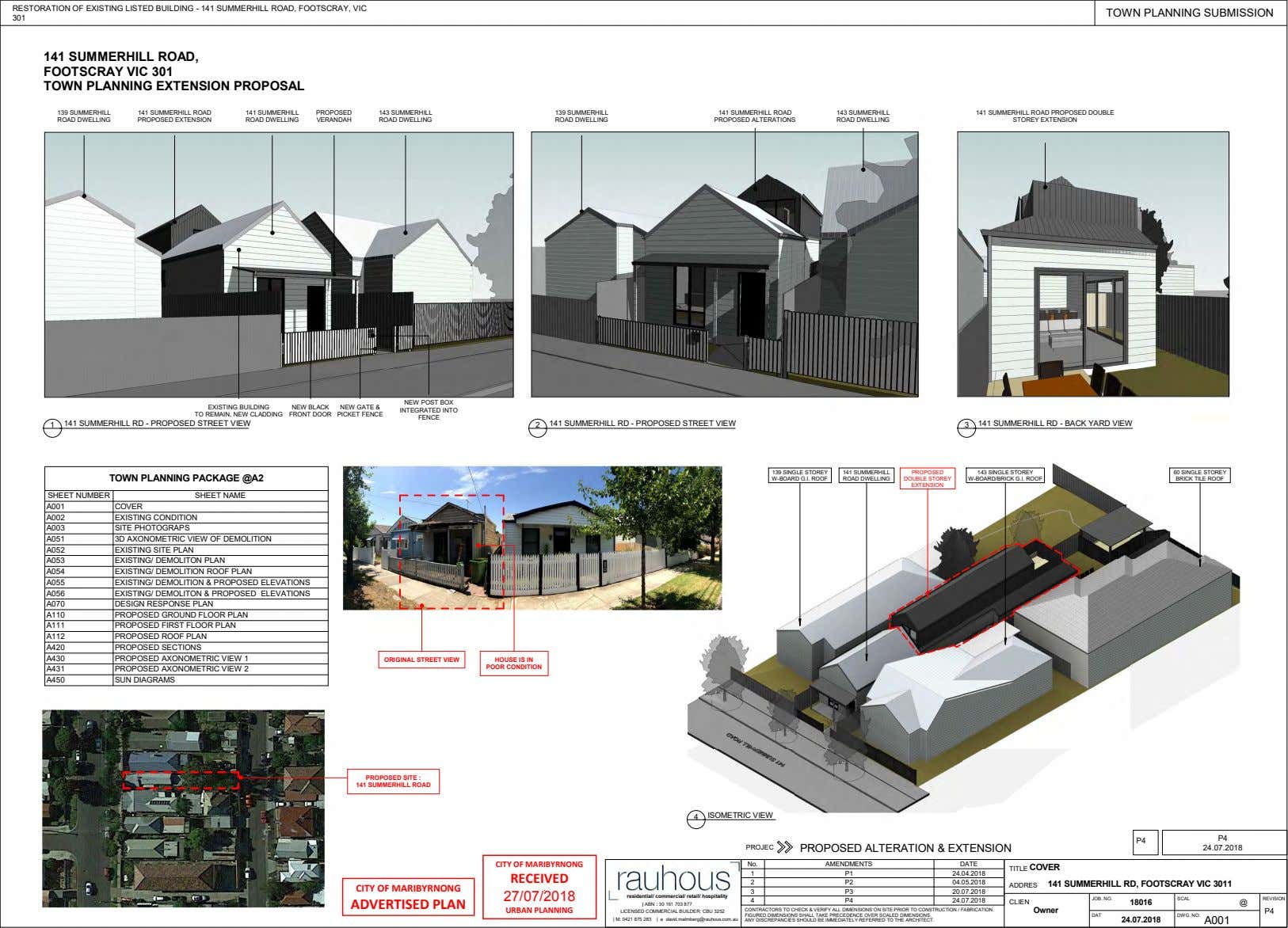 RESTORATION OF EXISTING LISTED BUILDING - 141 SUMMERHILL ROAD, FOOTSCRAY, VIC TOWN PLANNING SUBMISSION 301 141