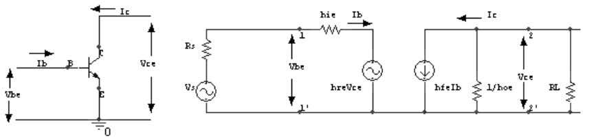 3. Draw a CE amplifier & its hybrid equivalent circuit. 4. Draw a CC amplifier &