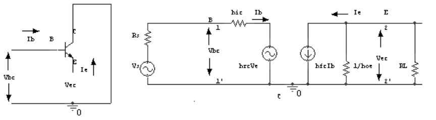 4. Draw a CC amplifier & its hybrid equivalent circuit 5. Draw a CB amplifier &
