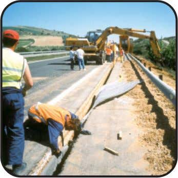 Findrain for lateral drainage. A29, France Road edge drain Highway, Spain Road edge drain Cadzand, The