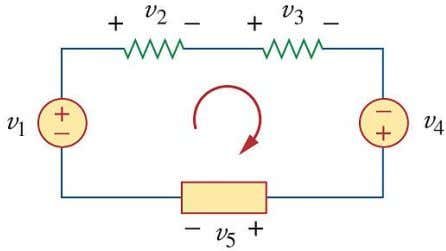 2.3. KIRCHHOFF'S LAWS 25 Example 2.3.3 . When voltage sources are connected in series, KVL can