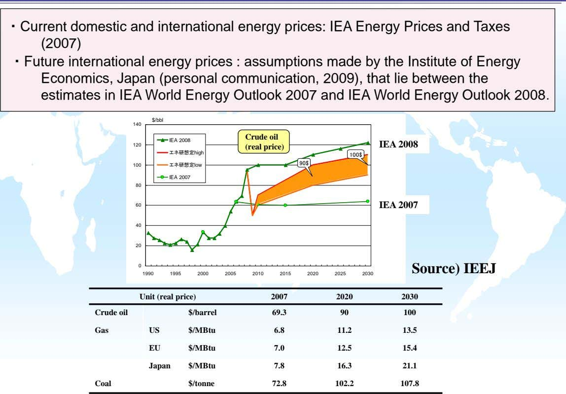 ・Current domestic and international energy prices: IEA Energy Prices and Taxes (2007) ・Future international energy