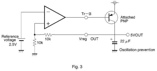 A PNP low saturation type tran- sistor must be connected. (3) Operational amplifier A standard 4558