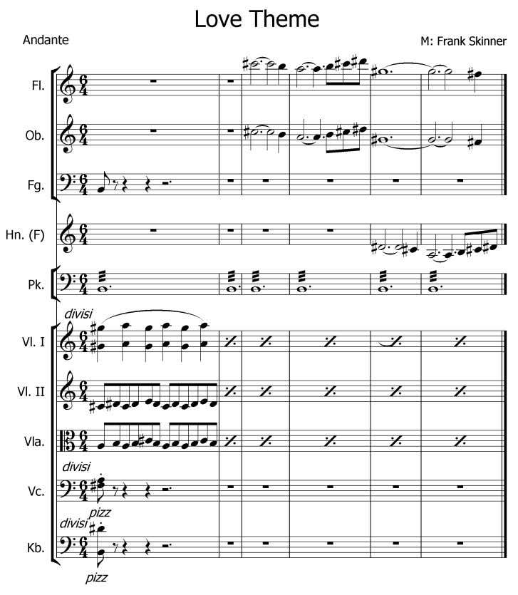 Notenbeispiel Nr.12 5 7 , Love Theme - agitato Audiobeispiel Skinner Nr.15 (Orchester) 5 6 In