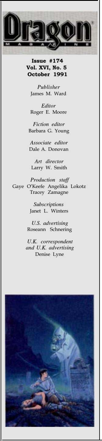 Publisher Editor Fiction editor Associate editor Art director Production staff Subscriptions U.S. advertising