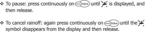  To pause: press continuously on then release. until is displayed, and MANUAL Valve 