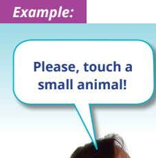 Example: Please, touch a small animal!