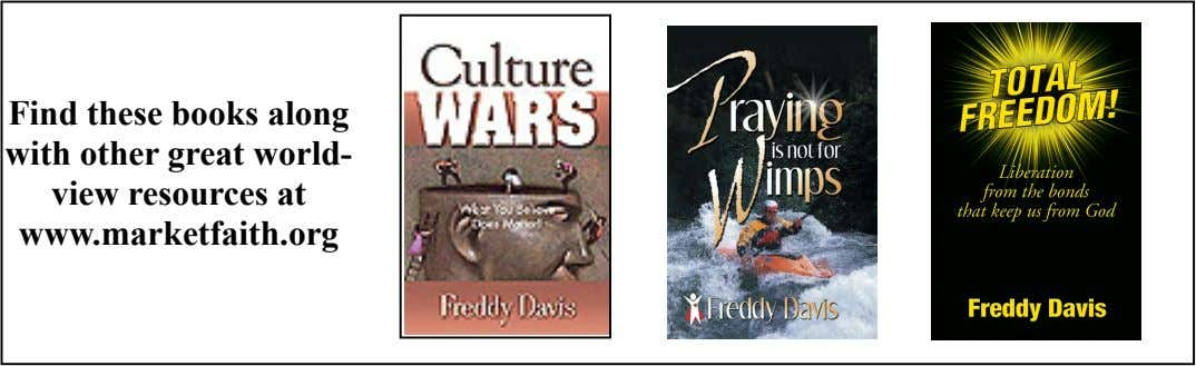 Find these books along with other great world- view resources at www.marketfaith.org