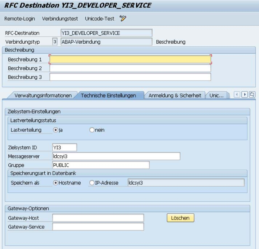 "type 3 (ABAP Connection). Fill Description and move to tab ""Technical Settings"" and fill target host"
