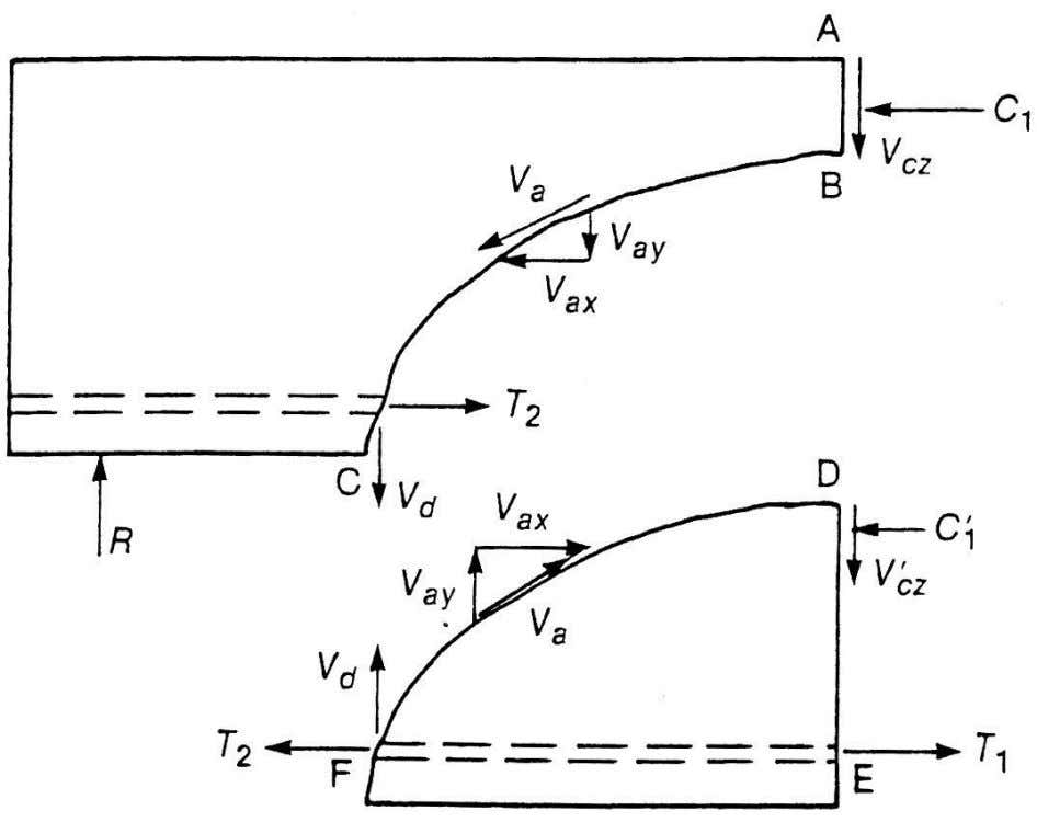 Fig 6-13 Internal forces in a cracked beam without stirrups
