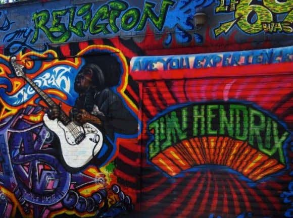 "work of visual art on or at 5Pointz titled ""Jimi Hendrix Tribute"", which he painted in"
