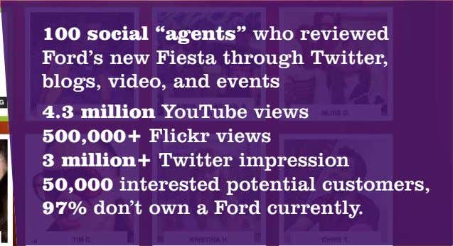 "100 social ""agents"" who reviewed Ford's new Fiesta through Twitter, blogs, video, and events 4.3"