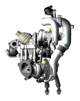 to a minimum. The twin turbo assembly is shown in Figure 23. Figure 23. Twin turbocharger