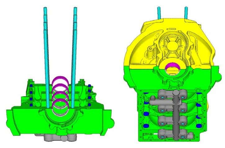 shell interference fits applied using *CONTACT INTERFERENCE. Figure 10. Crankcase assembly FE model. From the dynamic