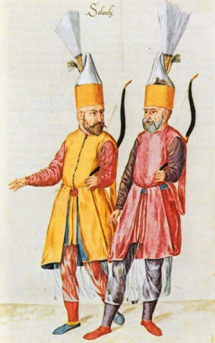 Janissary corps was permanently based in Algiers . A pair of Solaks, the Janissary archer bodyguard