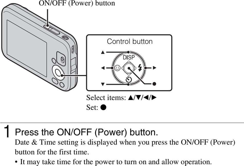 ON/OFF (Power) button Control button Select items: v / V/b /B Set: z 1 Press