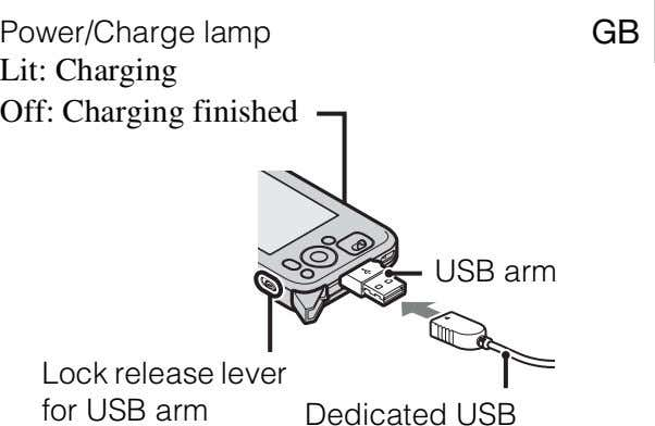 Power/Charge lamp GB Lit: Charging Off: Charging finished USB arm Lock release lever for USB