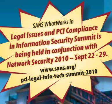 SANS WhatWorks in Legal Issues and PCI Compliance in Information Security Summit being held in