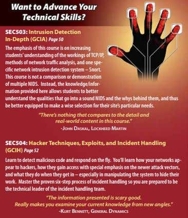 Want to Advance Your Technical Skills? SEC503: Intrusion Detection In-Depth (GCIA) Page 50 The emphasis