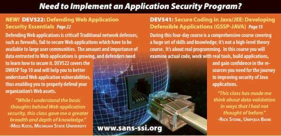 Need to Implement an Application Security Program? NEW! DEV522: Defending Web Application Security Essentials Page
