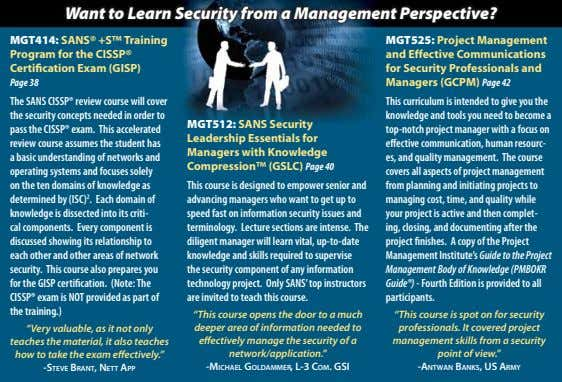 Want to Learn Security from a Management Perspective? MGT414: SANS® +S™ Training Program for the