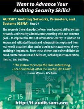 Want to Advance Your Auditing Security Skills? AUD507: Auditing Networks, Perimeters, and Systems (GSNA) Page