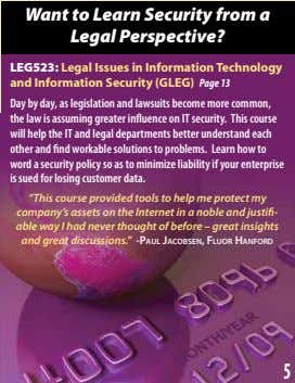 Want to Learn Security from a Legal Perspective? LEG523: Legal Issues in Information Technology and