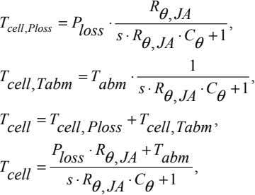 R θ , JA T = ⋅ , cell Ploss , P loss s ⋅
