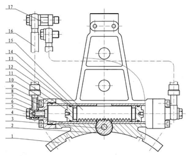 the duplex gear and the backup tong jaw plate frame to move. Fig.11 Oil cylinder of