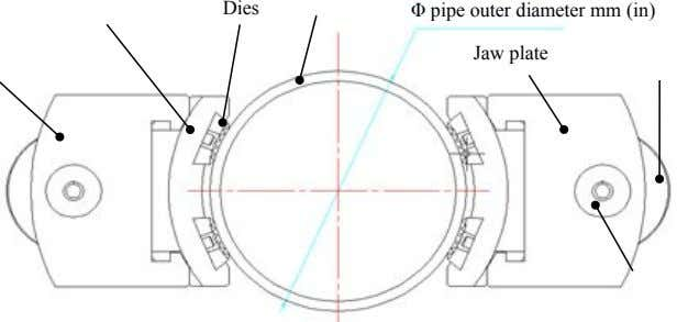 Dies Φ pipe outer diameter mm (in) Jaw plate