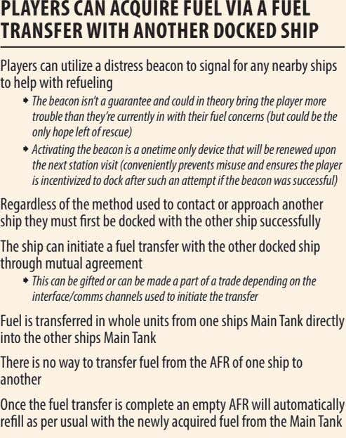PLAyErs CAn ACQuIrE FuEL vIA A FuEL TrAnsFEr wITh AnoThEr DoCKED shIP Players can utilize