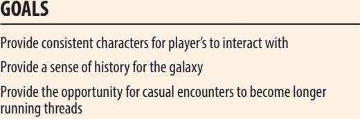 goALs Provide consistent characters for player's to interact with Provide a sense of history for