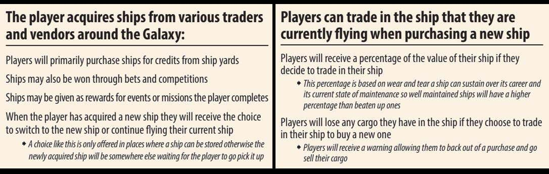 The player acquires ships from various traders and vendors around the galaxy: Players can trade