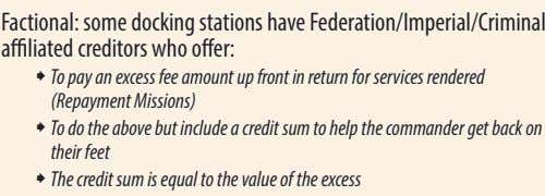 Factional: some docking stations have Federation/Imperial/Criminal affiliated creditors who offer: ˜ To pay an excess
