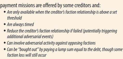 ˜ Are only available when the creditor's faction relationship is above a set threshold ˜