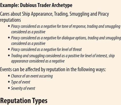 Example: Dubious Trader Archetype Cares about Ship Appearance, Trading, Smuggling and Piracy reputations ˜ Piracy