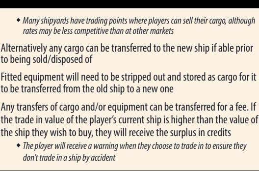 ˜ Many shipyards have trading points where players can sell their cargo, although rates may