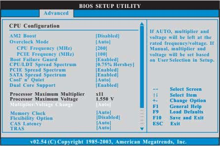 BIOS SETUP UTILITY Advanced CPU Configuration AM2 Boost Overclock Mode CPU Frequency (MHz) PCIE Frequency